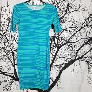 LuLaRoe Julia Dress Light Blue & Teal Midi XS